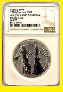 2020 2 oz Silver Allegories Germania & ITALIA NGC MS70 LOW MINT,LOW POP ERROR