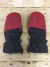 LL Bean Mittens Mens Large Nylon Red/Black Primaloft Insulated Cinch Wrist