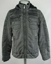 BKE Men's Distressed Washed Bomber Slim Fit Hooded Jacket Gray M