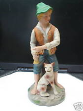 Porcelain Country Farm Boy and Dog     (1143)