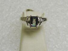 AMAZING 14K WHITE GOLD MYSTIC TOPAZ/8 DIAMOND STAIR STEP DESIGN RING SZ 7 G23-X