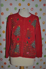 SEGUE ugly  RED CHRISTMAS PARTY SWEATER VINTAGE M TREES BEADS STARS