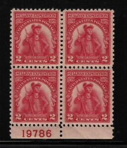 1929 Sullivan Expedition Sc 657 MNH full OG VF-XF block of 4 with plate number