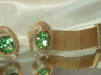 Vintage 70's Signed Dante Green Rhinestone Wrap Around Classic Cuff Links 567j9