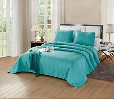 Queen/Full Aria Quilt Set Solid Turquoise Blue Bedspread Microfiber Coverlet