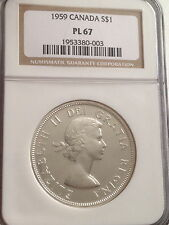 1959  Silver $1 Prooflike Canada Dollar NGC PL67