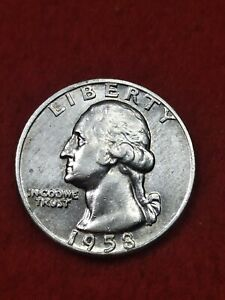 1958 D/D RPM double die obverse and reverse Silver Washington Quarter#58