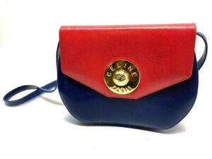 RARE Celine Paris Vintage Leather Crossbody Shoulder Bag Red Blue Gold Hardware