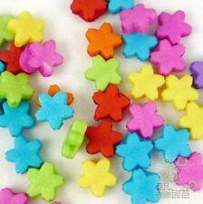 100pcs Mixed Plastic Flower Beads Lot 10MM DIY Jewelry Making Craft Kids DIY