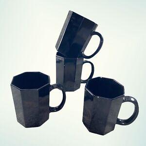 "Vintage Arcoroc Luminarc France Black Glass Mugs Set Of 4 Cups 4""T 3""W Art Glass"