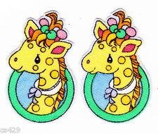 "2"" Precious moments pets giraffe set fabric applique iron on character"