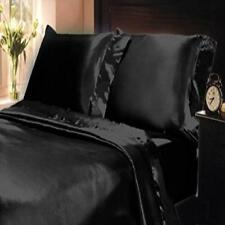 ❤ 2Pc Soft Silky Satin Solid Color King Size Pillow Cases Set Black Bed Pillowca