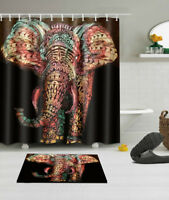 72x72'' Mandala Elephant Shower Curtain Sets 12 Hooks Bathroom Waterproof Fabric