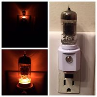 12AX7 Style Amber Vacuum Tube LED NIGHT LIGHT Ham Radio TV Guitar Amplifier