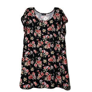 Scarlett Womens Black Red Floral Soft Night Shirt Nightgown Size 1X New