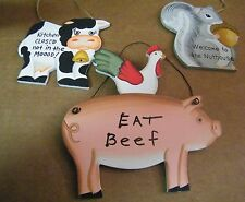 Cow Kitchen Closed not Mood Welcome Nuthouse Pig Rooster Eat Beef funny sign