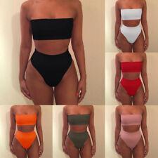 Women Ladies Strapless Bandeau Tube Tops Shorts Set Bikini Swimwear Swimsuit