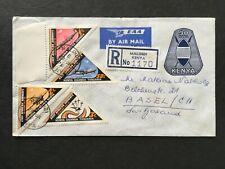 KENYA 1976 REGISTERED MALINDI UPRATED EAA STATIONARY ENVELOPE TO SWITZERLAND
