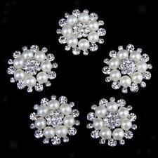 5x Crystal Rhinestone Pearl Flower Buttons Flatback Craft Embellishment 30mm