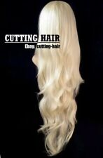 CUTTING HAIR - Pure Light Blonde 3/4 Wig XL Long Wavy Layered Half Wig 017-613