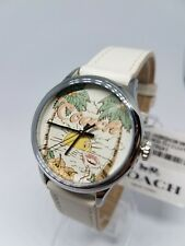Coach Womens Watch Stainless 36MM 14502987 White Leather Flamingo