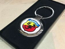 ABARTH ROUND Chrome Keyring With Printed Fiat Logo Panda 500 XL