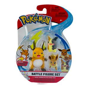 Pokemon 2021 Battle Figure Set Raichu Morpeko Full Belly Mode Eevee 3 Pack NEW!!