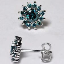 Womens Blue Diamond Cluster Push Back Stud Earrings 925 Sterling Silver 0.80 ct