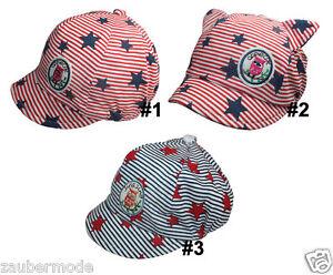 Mädchen Mütze Flatcap Schiebermütze mit Streifen und Sterne EULE Gr. 46-50 cm