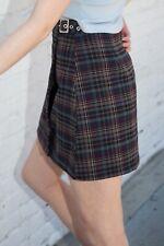 brandy melville purple/brown/dark green plaid wrap buckle Emerson skirt NWT sz S
