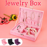 Portable Travel Jewelry Box Suede Organizer  Ornaments Makeup Gift Storage Case