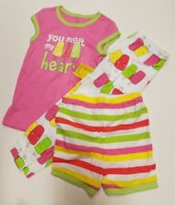 Infant Girls Carters Brand 3 piece pajama Set You Melt my Heart Size 18 Months