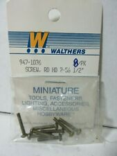 "HO SCALE WALTHERS 947-1036 (8 IN PACK) SCREW ROUND HEAD 2-56 1/2"" MINIATURE"