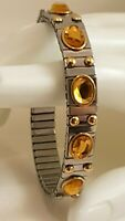 Yellow Citrine Bangle bracelet Silver Gemstone Jewelry Swarovski 2.5ct Gold 24k