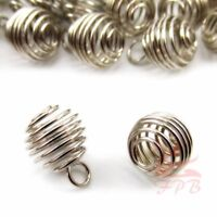 Spiral Bead Cage Charms 13mm Silver Plated Pendants SC0004016 - 10/20/40PCs
