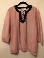 New! Medium St. John Sport Pink & Black Lace Up Front 3/4 Sleeve Sweater *USA*