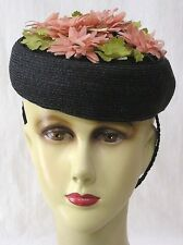 Vintage Womans Tilt Hat Blk Straw Pink Flowers on Crown 1940s
