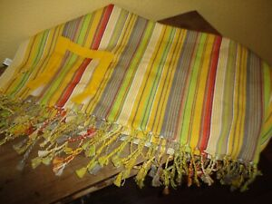 """WORLD MARKET FIESTA STYLE YELLOW GREEN RED STRIPE FRINGED SQUARE TABLECLOTH 60"""""""