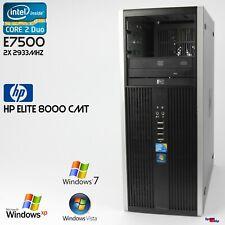 HP COMPAQ ELITE 8000  CMT TOWER COMPUTER PC WINDOWS XP 7 CORE 2 DUO RS-232 4GB