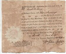 Rare 1795 Marriage License from Baltimore County Maryland for Joseph Dakings