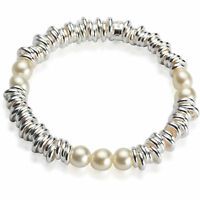 Pearl Bracelet Bangle Real 925 Sterling Silver S/F Ladies Solid Links Design