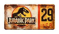 Jurassic World | Hammond's Jeep | Weathered | STAMPED Replica Prop License Plate