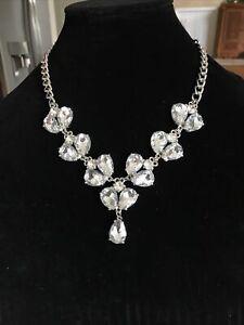 Beautiful Leslie Danzis Silver Crystal Rhinestone Statement Necklace