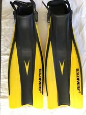 US Divers Adult Aqua Swim Fins Flippers Scuba Diving Yellow Adult 9-13 / ML-XL