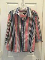 TALBOTS Womens Size 16P Blue/Red Striped Blouse Button Down Shirt Cotton Blend