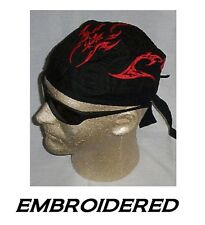 RED BLADE FLAMES Tribal EMBROIDERED FITTED BANDANA w/TIES Doo Do Rag Skull Cap