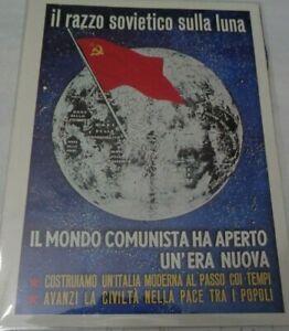 MANIFESTI DI PROPAGANDA IL RAZZO SOVIETICO SULLA LUNA IL MONDO COMUNISTA HA APER
