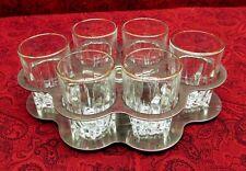 VINTAGE FEDERAL SHOT GLASS SET (6 GLASSES) IN CHROME PLATED HOLDER / SERVER