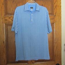 Greg Norman Golf Polo Short Sleeve Red, White & Blue Checkered Shirt Sz M Mens