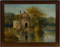 Framed Early 20th Century Oil - Ruined Temple with Figures